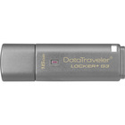 Kingston 16GB DataTraveler Locker+ G3 USB 3.0 Flash Drive - 16 GB - USB 3.0 - 135 MB/s Read Speed - 20 MB/s Write Speed - Silver - 5 Year Warranty