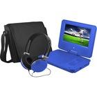 """Ematic EPD707 Portable DVD Player - 7"""" Display - 480 x 234 - Blue - DVD-R, CD-R - JPEG - DVD Video, Video CD, MPEG-4 - CD-DA, MP3 - 1 x Headphone Port(s) - Lithium Polymer (Li-Polymer) - 2 Hour"""
