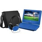 """Ematic EPD909 Portable DVD Player - 9"""" Display - 640 x 234 - Blue - DVD-R, CD-R - JPEG - DVD Video, Video CD, MPEG-4 - CD-DA, MP3 - 1 x Headphone Port(s) - Lithium Polymer (Li-Polymer) - 2 Hour"""
