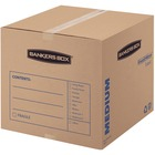 "Fellowes SmoothMove Basic Medium Moving Boxes - Internal Dimensions: 18"" (457.20 mm) Width x 18"" (457.20 mm) Depth x 16"" (406.40 mm) Height - External Dimensions: 18.3"" Width x 18.3"" Depth x 16.4"" Height - Medium Duty - Corrugated - Kraft, Black - Recycle"