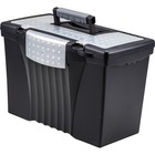"Storex Supply Compartment Plastic File Box - External Dimensions: 9"" Width x 11.5"" Depth x 17""Height - Media Size Supported: Legal, Letter - Heavy Duty - Plastic - Black - For Document - Recycled - 1 Each"