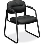 "HON Sled Base Guest Chair - Black Leather Seat - Black Leather Back - Black Steel Frame - Sled Base - Black - 20.3"" Seat Width x 17"" Seat Depth - 22.3"" Width x 23"" Depth x 32"" Height - 1 Each"