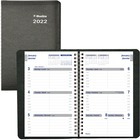 "Blueline Net Zero Carbon Weekly Planner - Weekly, Daily - 1 Year - January 2021 till December 2021 - 7:00 AM to 6:00 PM - 1 Week Double Page Layout - Twin Wire - Black - 8"" Height x 5"" Width - Soft Cover, Flexible Cover, Eco-friendly, Bilingual - 1 Each"