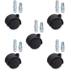 "Lorell Premium Dual Soft Wheel Casters Set - 1.97"" (50 mm) Diameter - Nylon, Metal - Black - 5 / Set"