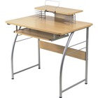 """Lorell Upper Shelf Laminate Computer Desk - Laminated Rectangle Top - 23.6"""" Table Top Width x 35.4"""" Table Top Depth - 35.2"""" Height - Assembly Required - Maple - Metal"""
