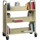"Lorell Double-sided Book Cart - 6 Shelf - 90.72 kg Capacity - 5"" (127 mm) Caster Size - Steel - x 36"" Width x 19"" Depth x 46"" Height - Putty - 1 Each"