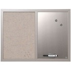 "MasterVision MV Fabric/Dry-erase Bulletin Board - 18"" (457.20 mm) Height x 24"" (609.60 mm) Width - Gray Fabric, White Surface - Lightweight, Mounting System, Magnetic - Gray Wood Frame"