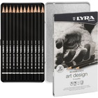 Lyra Art Design Hi-quality Graphite Pencils - 4 mm Lead Diameter - Black Lead - Black Wood Barrel - 12 / Set