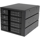 "StarTech.com 4 Bay Aluminum Trayless Hot Swap Mobile Rack Backplane for 3.5in SAS II/SATA III - 6 Gbps HDD - Connect and hot swap four 3.5in SATA III or SAS II hard drives to your computer system in three 5.25"" bays, with support for SATA 6 Gbps - Compati"