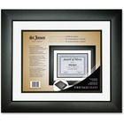 "First Base Tuxedo Black Double Matte Certificate Frame - 16.75"" x 14.25"" Frame Size - Holds 11"" x 8.50"" Insert - Rectangle - Wall Mountable - Landscape, Portrait - 1 Each - Tuxedo Black, White, Black"