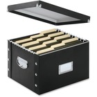 "Snap-N-Store Hanging File Box - External Dimensions: 13.3"" Width x 16.5"" Depth x 1.8""Height - Media Size Supported: Legal, Letter - Heavy Duty - Fiberboard, Polyvinyl Chloride (PVC), Metal - Black - For File, Folder - 1 Each"