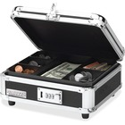"Vaultz Combination Lock Cash Box - Plastic, Chrome, Rubber, Steel, Aluminum - Black - 4"" (101.60 mm) Height x 10"" (254 mm) Width x 8.50"" (215.90 mm) Depth"