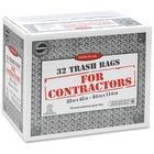 "Supersak Contractor Grade 2.20 Mil Trash Bags - 160 L - 33"" (838.20 mm) Width x 45"" (1143 mm) Length x 2.20 mil (56 Micron) Thickness - Black - 32/Carton"