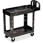 "Rubbermaid Flat Shelf Utility Cart - 2 Shelf - Push Handle Handle - 226.80 kg Capacity - 4"" (101.60 mm) Caster Size - Resin, Polypropylene - 39"" Length x 17.9"" Width x 33.2"" Height - Black - 1 Each"
