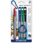 Staedtler Triplus Fine-point Permanent Markers - Fine Marker Point - Red, Blue, Green, Black - 4 / Pack
