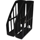 "Storex Recycled Magazine Holders - 11.20"" (284.48 mm) x 4"" (101.60 mm) x 9.50"" (241.30 mm) x - Plastic - 2 / Pack - Black"