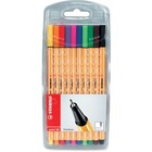Stabilo Point 88 Fine Line Pens - Fine Pen Point - Assorted Water Based Ink - Metal Tip - 10 / Pack