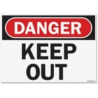 "U.S. Stamp & Sign OSHA Danger Keep Out Safety Sign - 1 Each - Danger Keep Out Print/Message - 14"" (355.60 mm) Width x 10"" (254 mm) Height - Rectangular Shape - UV Resistant, Abrasion Resistant, Moisture Resistant, Chemical Resistant - Styrene - Black, Whi"