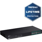 TRENDnet 16-port GREENnet Gigabit PoE+ Switch (250W) - 16 Ports - 2 Layer Supported - Twisted Pair - Rack-mountable - Lifetime Limited Warranty