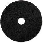 "Genuine Joe Black Floor Stripping Pad - 17"" Diameter - 5/Carton x 17"" (431.80 mm) Diameter x 1"" (25.40 mm) Thickness - Fiber - Black"