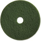 "Genuine Joe 13"" Scrubbing Floor Pad - 13"" Diameter - 5/Carton x 13"" (330.20 mm) Diameter x 1"" (25.40 mm) Thickness - Fiber - Green"