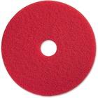 "Genuine Joe Red Buffing Floor Pad - 20"" Diameter - 5/Carton x 20"" (508 mm) Diameter x 1"" (25.40 mm) Thickness - Fiber - Red"
