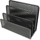 "Artistic 3-compartment Punched Metal Letter Sorter - 3 Compartment(s) - 5.5"" Height x 6.5"" Width x 3.3"" Depth - Desktop - Black - Steel - 1Each"
