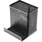 Artistic Punched Metal Pencil Cup/Cell Phone Stand - Metal - 1 Each - Black