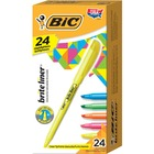 BIC Brite Liner Highlighters - Chisel Marker Point Style - Fluorescent Pink, Fluorescent Yellow, Fluorescent Blue, Fluorescent Green, Fluorescent Orange Water Based Ink - 24 / Set