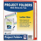 """C-Line Write-on Project Folders, Clear, 11 x 8 1/2, 10/PK - Letter - 8 1/2"""" x 11"""" Sheet Size - Polypropylene - Assorted, Clear - 10 / Pack"""