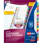 """Avery® Ready Index Binder Dividers - Customizable Table of Contents - 31 x Divider(s) - 31 Printed Tab(s) - Digit - 1-31 - 31 Tab(s)/Set - Letter - 8 1/2"""" Width x 11"""" Length - 3 Hole Punched - Multicolor Paper Divider - Multicolor Paper Tab(s) - 31 /"""