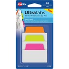 "Avery® Multiuse Ultra Tabs(R), 2"" x 1.5"" , 48 Tabs, Assorted Neon - 48 Tab(s) - 1.50"" Tab Height x 2"" Tab Width - Clear Film, Neon Pink Paper Tab(s) - 12"