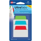 """Avery® Multiuse Ultra Tabs(R), 2"""" x 1.5"""" , 48 Tabs, Assorted Colors - 48 Tab(s) - 1.50"""" Tab Height x 2"""" Tab Width - Clear Film, Red Paper Tab(s) - 12"""