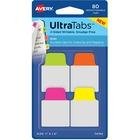"""Avery® Mini Ultra Tabs(R), 1"""" x 1.5"""" , 80 Mini Tabs, Assorted Neon - 80 Tab(s) - 1.50"""" Tab Height x 1"""" Tab Width - Clear Film, Neon Pink Paper Tab(s) - 12"""