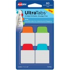 "Avery® Mini Ultra Tabs - 2-sided Writable - Repositionable - Write-on Tab(s) - 1.50"" Tab Height x 1"" Tab Width - Red, Blue, Orange Tab(s) - 80 / Pack"