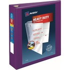 "Avery® Heavy-Duty View Binders - Locking One Touch EZD Rings - 2"" Binder Capacity - Letter - 8 1/2"" x 11"" Sheet Size - Ring Fastener(s) - 4 Internal Pocket(s) - Poly - Purple - Recycled - Cover, Spine, Divider, One Touch Ring, Gap-free Ring, Non-stick"