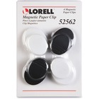 Lorell Plastic Cap Magnetic Paper Clips - Round - 4 / Pack - Black, White