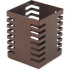 """Lorell Stamped Metal Square Pencil Cup - 4.30"""" (109.22 mm) x 3.20"""" (81.28 mm) x 3.20"""" (81.28 mm) x - Steel - 1 Each - Bronze"""