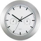 "Artistic Wall Clock w/Temperature/Humidity Gauges, 12"" , SR - Silver"
