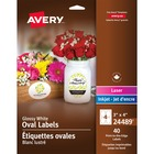 "Avery® Glossy White Oval Labels - 4"" Width x 3"" Length - Oval - Inkjet, Laser - White - 4 / Sheet - 40 / Pack"