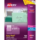 "Avery® Easy Peel Address Labels - 4"" Width x 2"" Length - Rectangle - Laser, Inkjet - Clear - 10 / Sheet - 100 / Pack"
