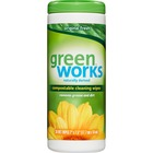 "Green Works Cleaning Wipes - Wipe - 7"" (177.80 mm) Width x 7.50"" (190.50 mm) Length - 30 / Tub - 1 Each - White"