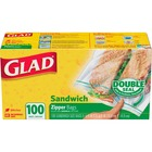 "Glad Sandwich Zipper Bags - 5.88"" (149.23 mm) Width x 6.63"" (168.28 mm) Length - Clear - 100/Box - Sandwich"
