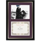 "St. James® Dual Certificate Frame - 23.25"" x 16.25"" Frame Size - Rectangle - Wall Mountable - Landscape, Portrait - Double Mat - 1 Each - Burgundy, Black"