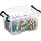 "Greenside Easy Lid 0.4L Storage Smart Box - Internal Dimensions: 2.90"" (73.66 mm) Width x 3.90"" (99.06 mm) Depth x 2.20"" (55.88 mm) Height - External Dimensions: 3.7"" Width x 4.8"" Depth x 2.4"" Height - 400 mL - Polypropylene - Clear - For Business Card, O"