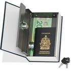 "Merangue Metal Book Safe Box with Hidden Lock - Key, Combination Lock - for Passport, Jewellery - Overall Size 7.1"" x 4.6"" - Blue - Steel, Metal"