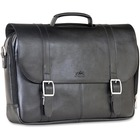 """MANCINI 5th AVENUE Carrying Case (Briefcase) for 15.6"""" Notebook - Black - Genuine Leather - Shoulder Strap - 11"""" (279.40 mm) Height x 15.50"""" (393.70 mm) Width x 3.50"""" (88.90 mm) Depth"""