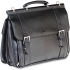 """MANCINI 5th AVENUE Carrying Case (Briefcase) for 15.6"""" Notebook - Black - Genuine Leather - Shoulder Strap - 12.75"""" (323.85 mm) Height x 16.25"""" (412.75 mm) Width x 5.75"""" (146.05 mm) Depth"""