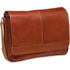 """MANCINI COLOMBIAN Carrying Case (Messenger) for 15.6"""" Notebook - Colombian Cognac - Genuine Leather - Shoulder Strap, Luggage Strap - 12"""" (304.80 mm) Height x 17.25"""" (438.15 mm) Width x 3"""" (76.20 mm) Depth"""