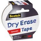 """Scotch White Dry Erase Tape - 15 ft (4.6 m) Length x 1.88"""" (47.8 mm) Width - Removable, Writable Surface - 1 Roll - White"""